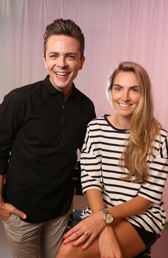 Global brow expert Jared Bailey from Benefit Cosmetics with Marcia Leone of Not So Mumsy. Picture: Rohan Kelly